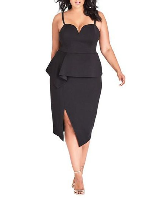 City Chic - Black Screen Siren Dress - Lyst