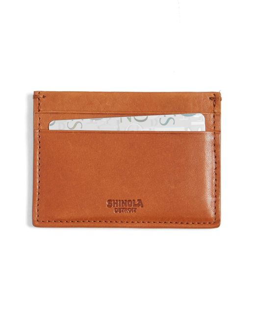 Shinola Brown Leather Card Case for men