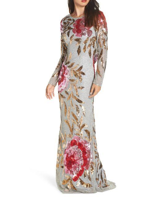 Mac Duggal - Multicolor Drape Back Floral Sequin Gown - Lyst