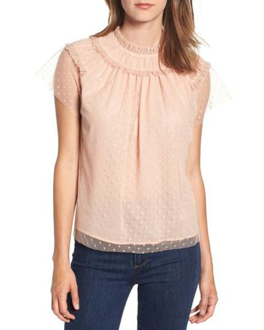 1cd80d782853e2 Lyst - Chelsea28 Ruffle Dot Top in Pink