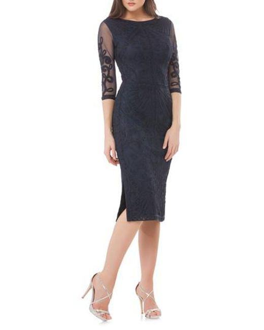 JS Collections - Blue Sheer Sleeve Soutache Sheath Dress - Lyst