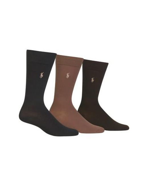 Polo Ralph Lauren   Green Assorted 3-pack Supersoft Socks, Brown for Men   Lyst