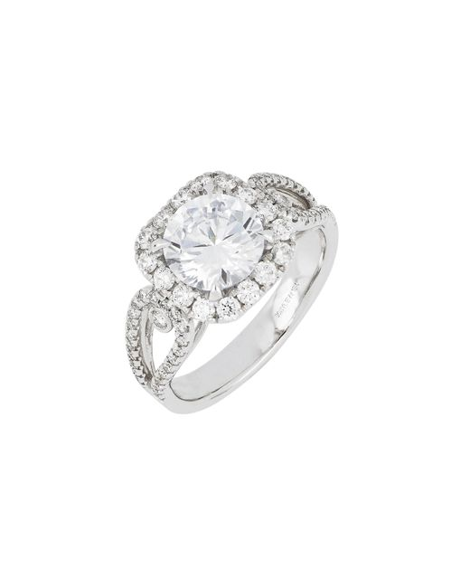 Bony Levy - Metallic Diamond Pave Halo Round Engagement Ring Setting (nordstrom Exclusive) - Lyst