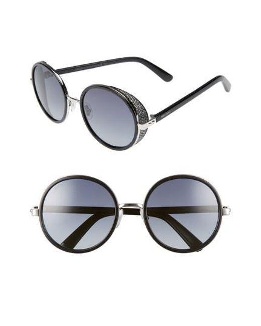 Jimmy Choo - Andiens 54mm Round Sunglasses - Palladium/ Black - Lyst