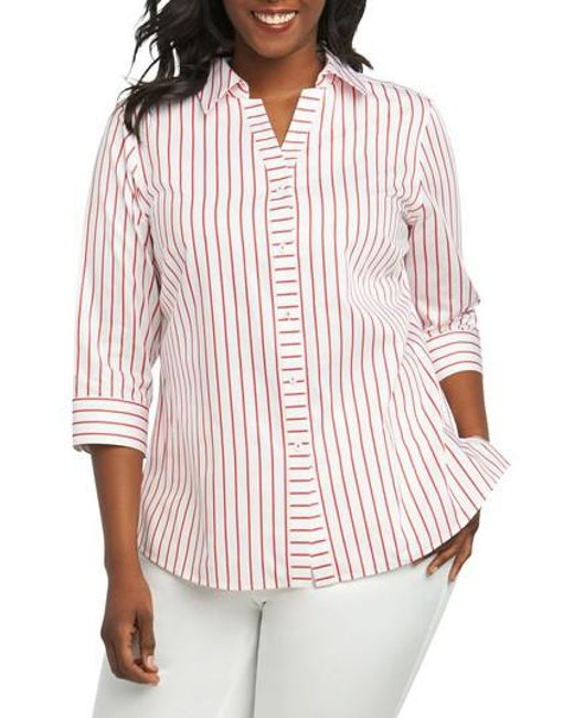 Foxcroft - Red Clio Sateen Stripe Shirt - Lyst