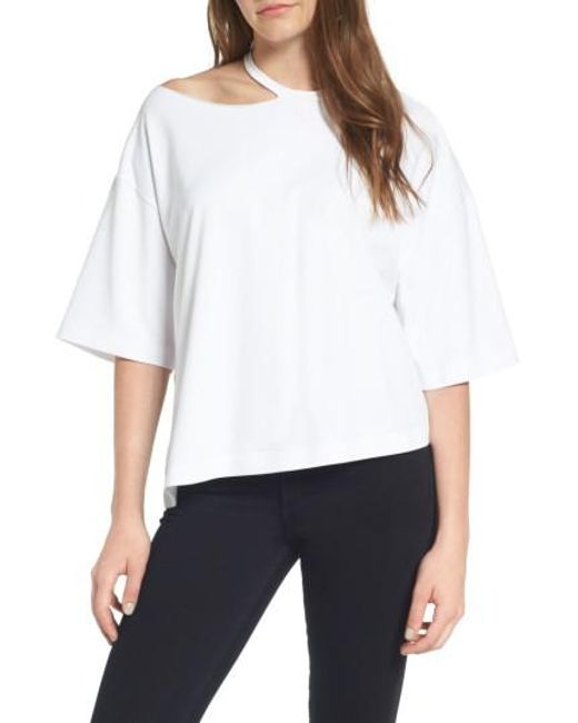 Kendall + Kylie | White Cutout Neck Top | Lyst
