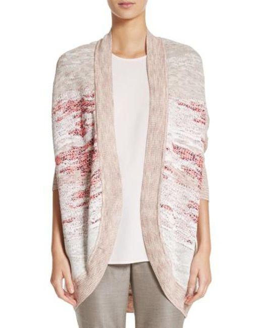 St. John | Multicolor Ombre Textured Jacquard Knit Cardigan | Lyst