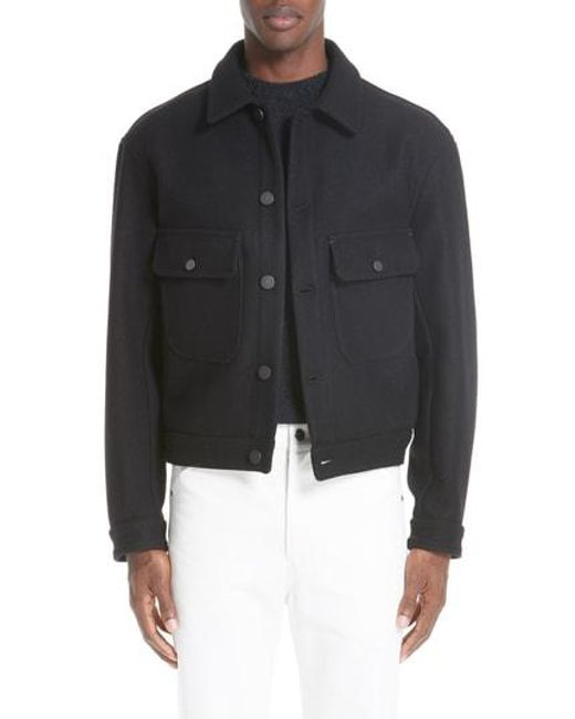 Lemaire - Black Felted Wool Utility Jacket for Men - Lyst