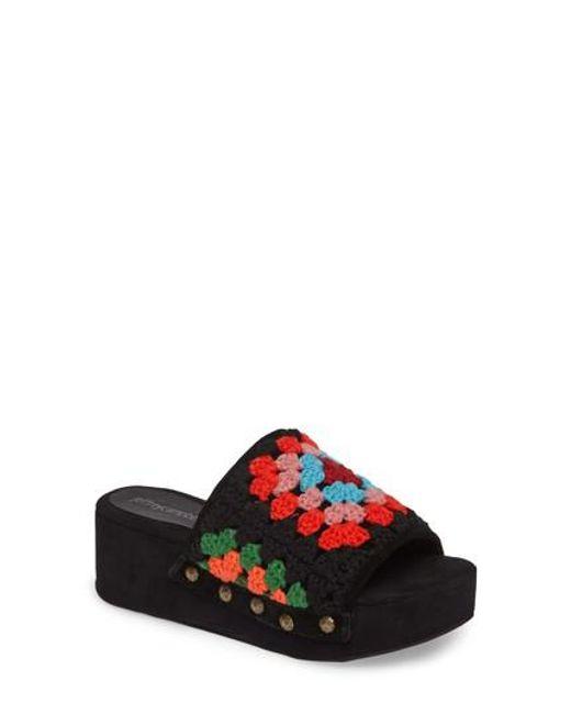 Jeffrey Campbell - Red Nonna Crocheted Platform Slide Sandal - Lyst
