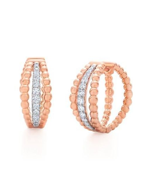 Kwiat - Multicolor Beaded Multirow Diamond Hoop Earrings - Lyst