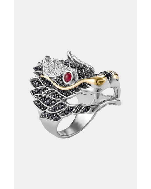 John Hardy Metallic Sterling Silver & 18k Gold Naga Lava Dragon Ring