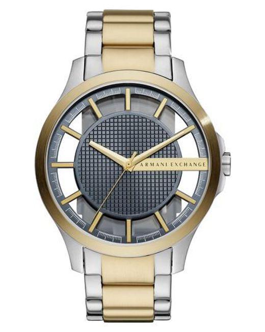 Armani Exchange - Metallic Two-tone Bracelet Watch for Men - Lyst