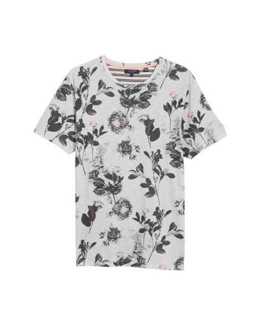 Ted baker doberma trim fit floral print t shirt in grey for Ted baker floral print shirt