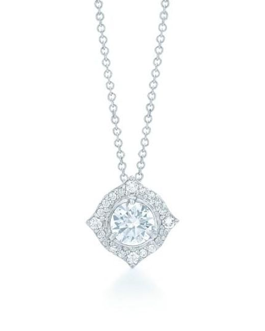 Kwiat - Metallic Halo Diamond Pendant Necklace - Lyst