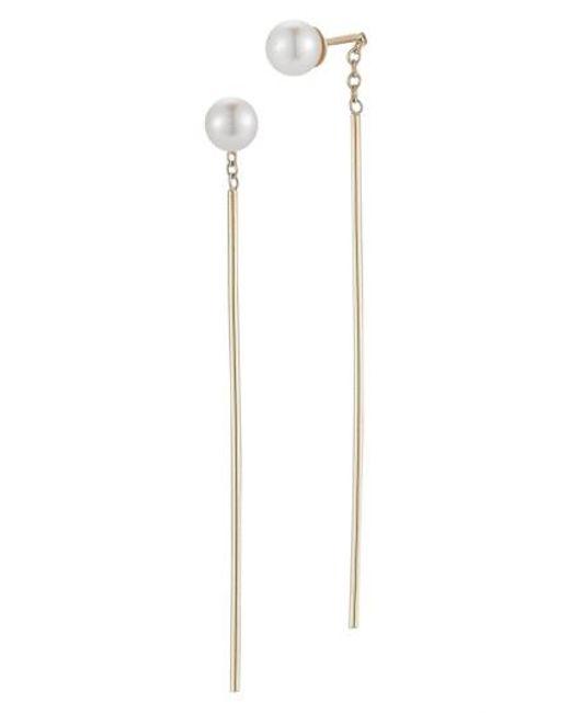 Mizuki | White Pearl Drop Earrings | Lyst