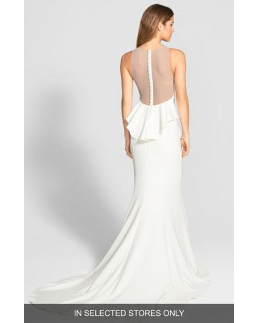 Amsale   White Back Detail Flared Silk Crepe Gown   Lyst