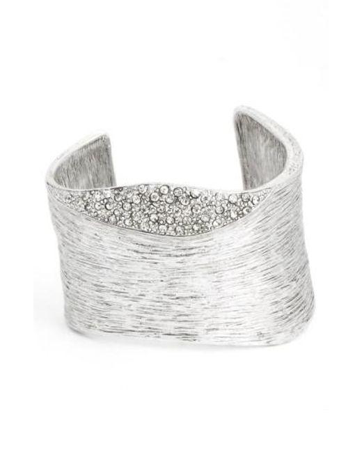 Karine Sultan | Metallic Textured Cubic Zirconia Cuff | Lyst