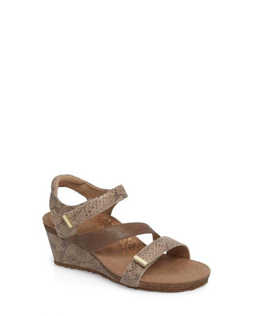 Aetrex - Brown Brynn Asymmetrical Wedge Sandal - Lyst