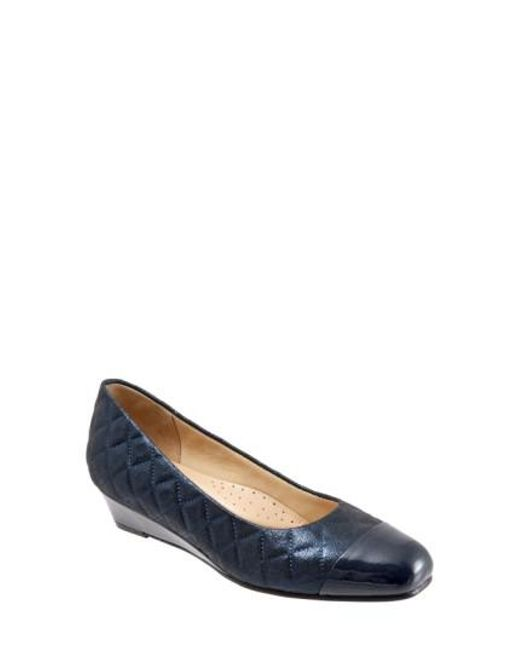 Trotters - Blue 'langley' Cap Toe Wedge Pump - Lyst