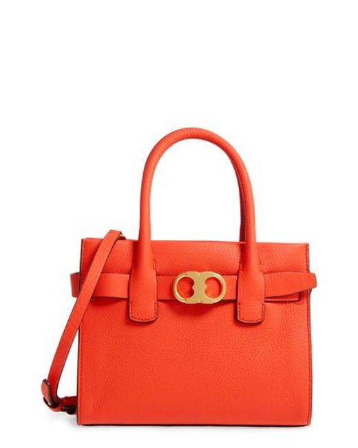 Tory Burch | Red Small Gemini Link Leather Tote | Lyst