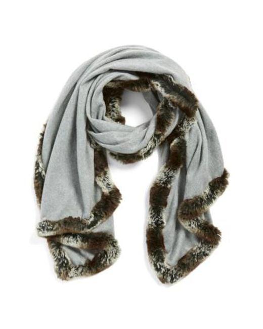 Badgley Mischka - Gray Faux Fur Trim Wrap - Lyst