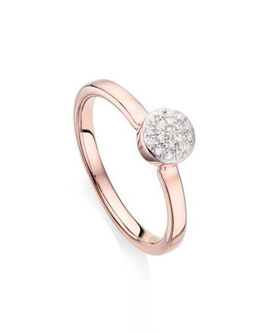 Rose Gold Fiji Large Button Stacking Ring Diamond Monica Vinader K6lVgr