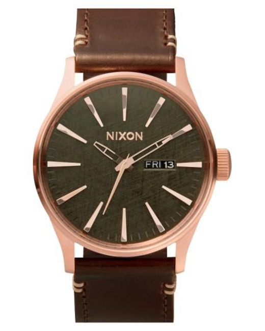 Nixon | Pink 'the Sentry' Leather Strap Watch for Men | Lyst