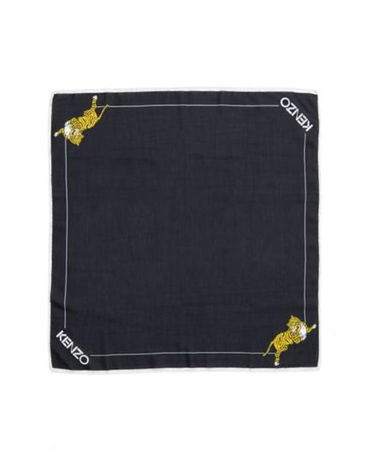 KENZO | Black Walking Tiger Bandana Cotton & Silk Scarf | Lyst