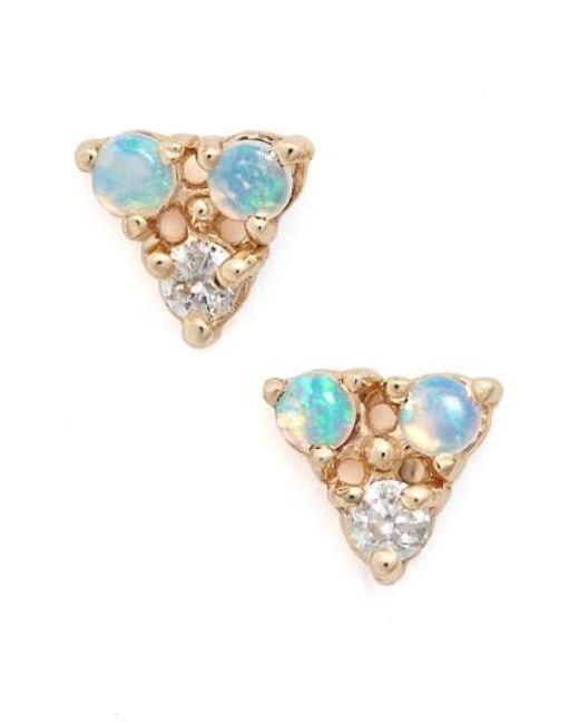 Wwake   Metallic Triangle Opal & Diamond Earrings   Lyst