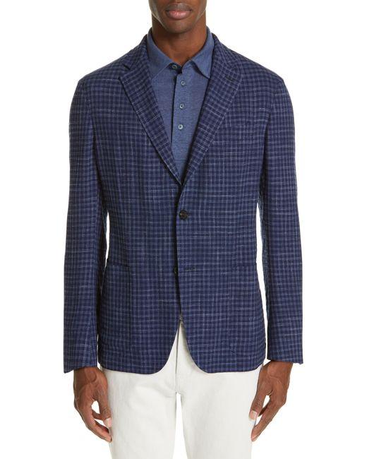 Ermenegildo Zegna Blue Informale Classic Fit Check Wool Blend Sport Coat for men