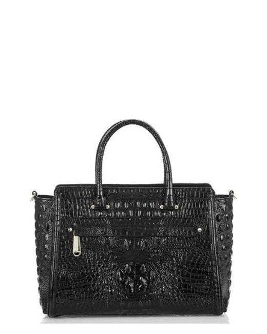Brahmin - Black Harper Embossed Leather Satchel - Lyst