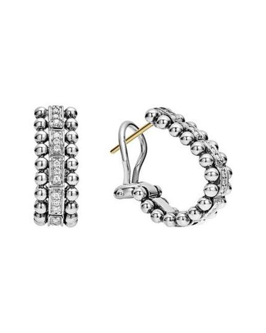 Lagos - Metallic Caviar Spark Diamond Oval Hoop Earrings - Lyst
