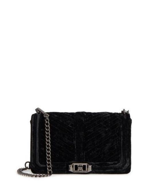 Rebecca Minkoff | Black Love Velvet Quilted Crossbody Bag | Lyst