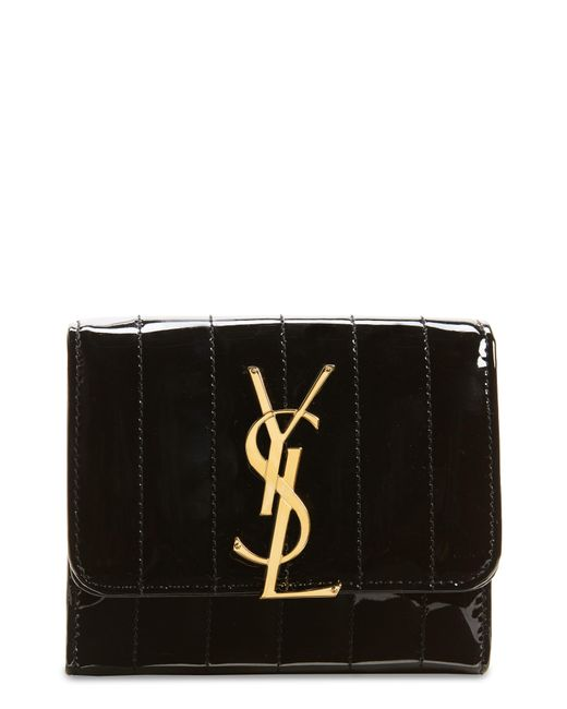 Saint Laurent Black Vicky Patent Leather Trifold Wallet