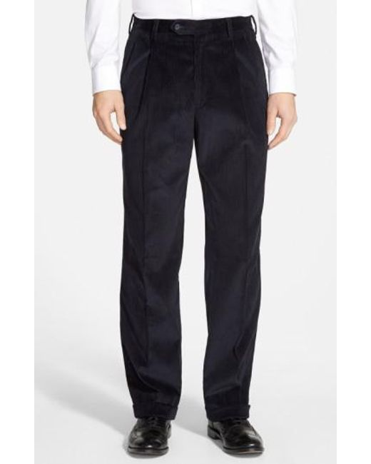 Berle | Blue Pleated Corduroy Trousers for Men | Lyst