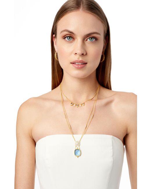 Freida Rothman - Metallic Ocean Azure Double Drop Pendant Necklace - Lyst