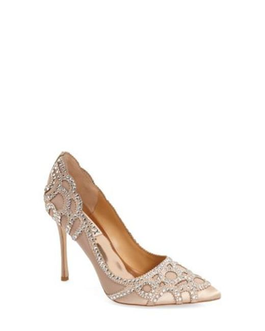 Badgley Mischka | Natural 'rouge' Pointy Toe Pump | Lyst