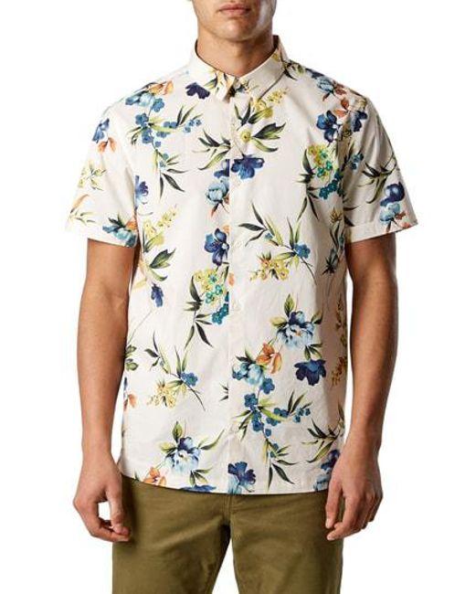 7 Diamonds - Natural Sky Pilot Trim Fit Short Sleeve Sport Shirt for Men - Lyst