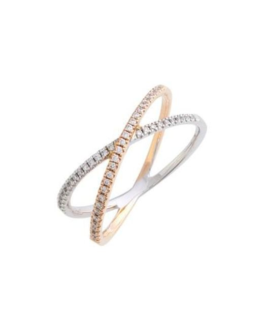 Bony Levy | White Stackable Crossover Diamond Ring (nordstrom Exclusive) | Lyst