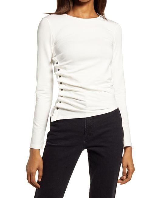 AllSaints White Hatti Side Snap Long Sleeve T-shirt