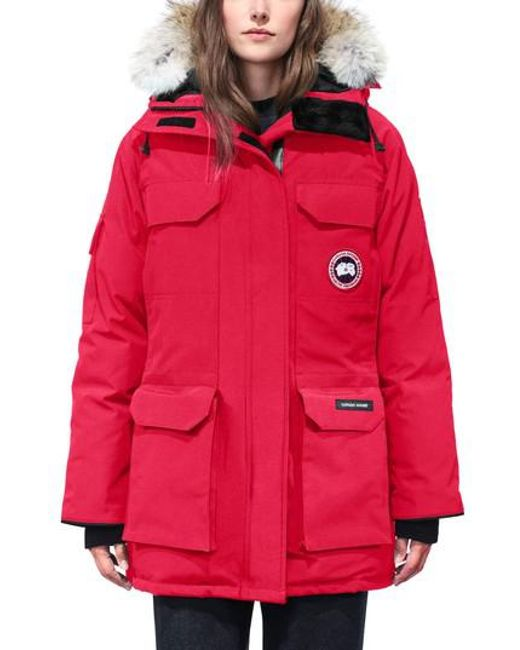 Canada Goose | Red 'expedition' Relaxed Fit Down Parka With Genuine Coyote Fur | Lyst