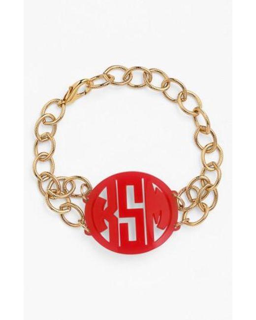 Moon & Lola | Red 'annabel' Medium Personalized Monogram Bracelet | Lyst