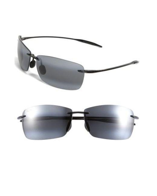 Maui Jim | Lighthouse 65mm Polarizedplus2 Rimless Sunglasses - Gloss Black for Men | Lyst
