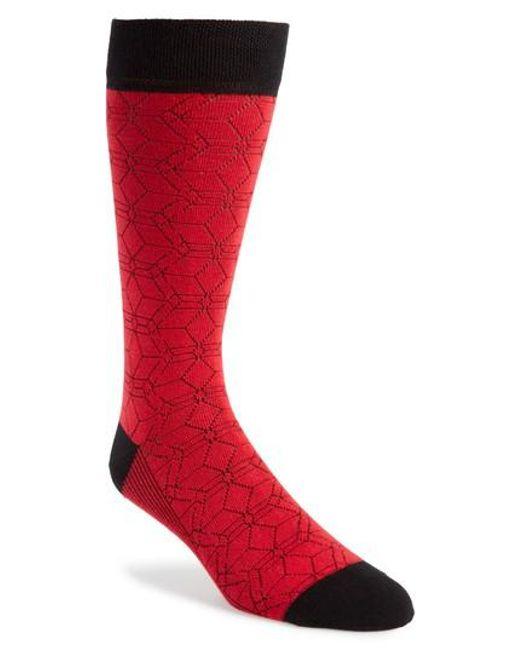 Ted Baker - Red Geo Socks for Men - Lyst