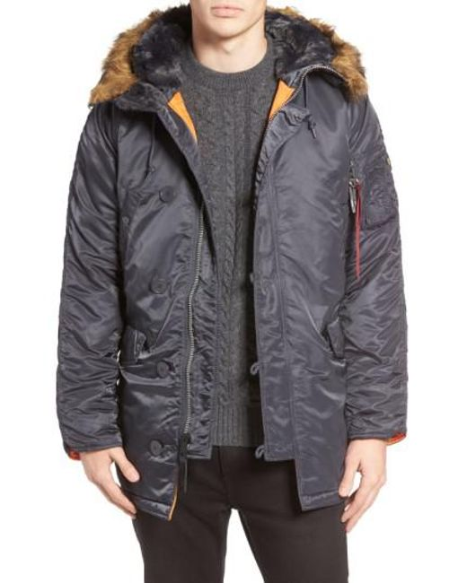 Alpha industries Slim Fit N-3b Parka in Gray for Men | Lyst