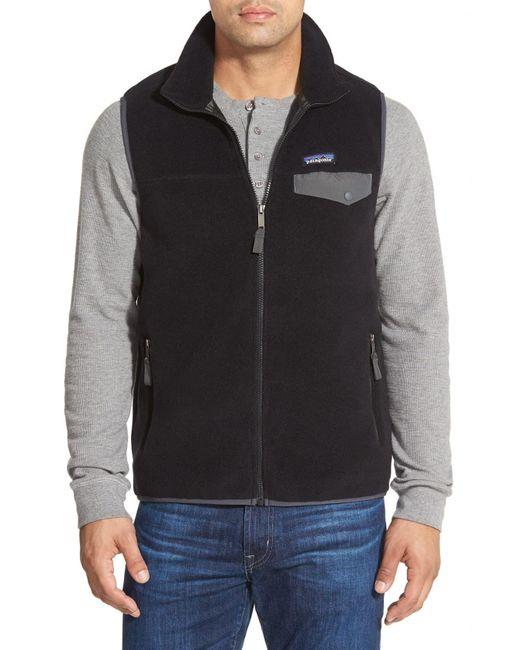 Patagonia Black 'synchilla Snap-t' Zip Fleece Vest for men