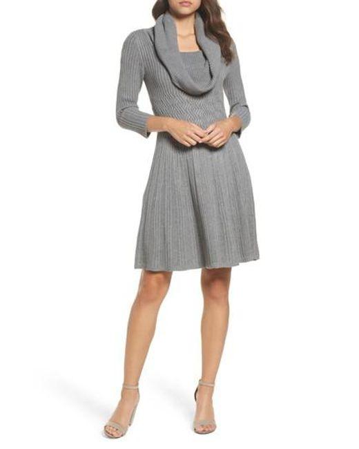 Eliza J | Gray Cowl Neck Sweater Dress | Lyst