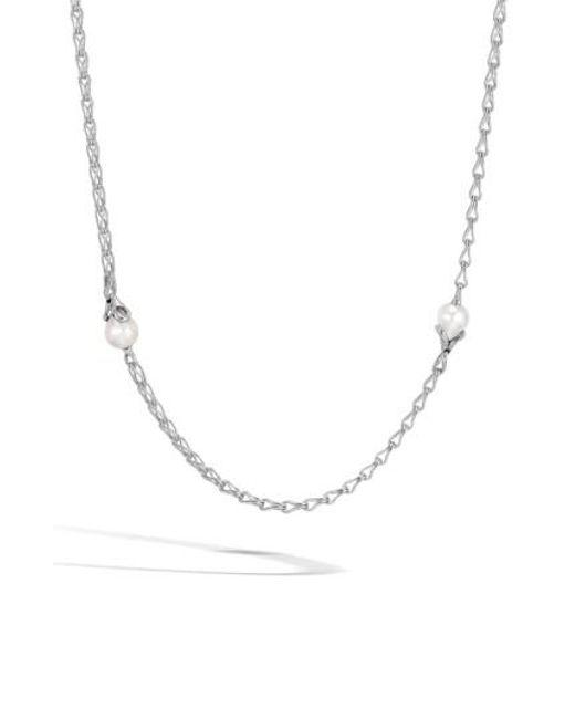 John Hardy - Metallic Bamboo Pearl Station Necklace - Lyst