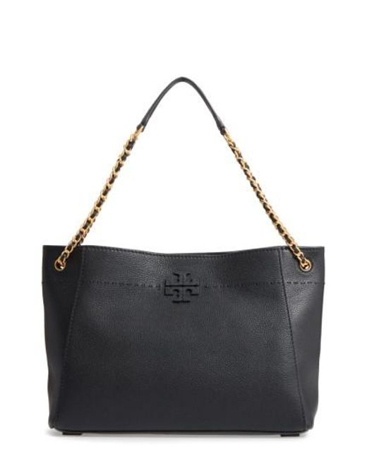 Tory Burch | Black Mcgraw Slouchy Leather Shoulder Bag | Lyst