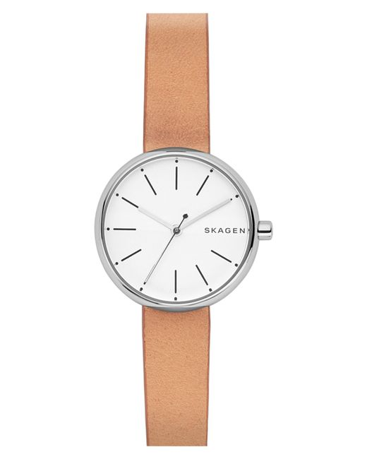 Skagen - Brown Round Leather Strap Watch - Lyst